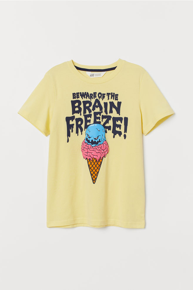 T-shirt med tryck - Gul/Brain freeze - BARN | H&M SE 2