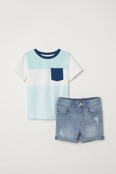 T-shirt and twill shorts - Light denim blue/White - Kids | H&M CN