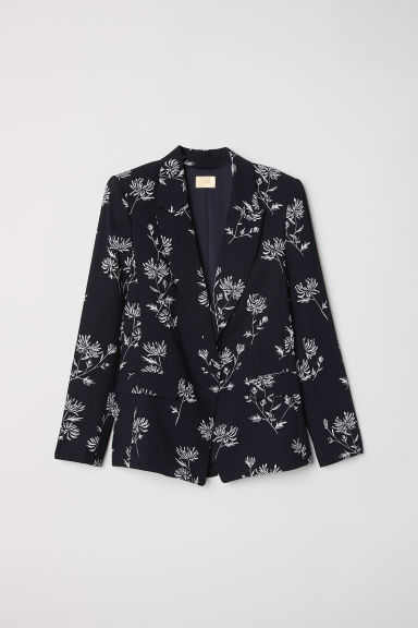 Fitted jacket - Black/Floral - Ladies | H&M CN