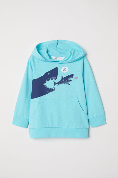 Hooded top - Turquoise/Shark - Kids | H&M