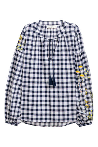 Cotton blouse - Blue/White checked - Ladies | H&M IE