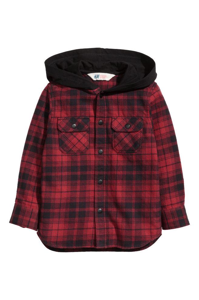 0a94f6a0fa7 Flanelová košile s kapucí - Tmavě červená černá - DĚTI