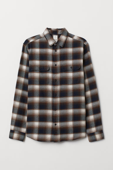 Flannel shirt Regular Fit - Brown/Dark blue -  | H&M