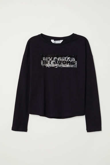 Top con paillettes - Nero/My Squad - BAMBINO | H&M IT