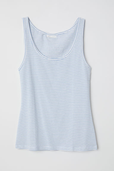 Jersey vest top - White/Light blue striped - Ladies | H&M