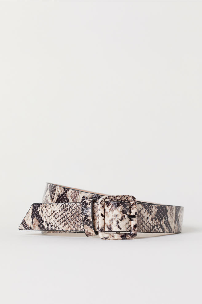 Snakeskin-patterned Belt - Beige/snakeskin-patterned - Ladies | H&M US 1