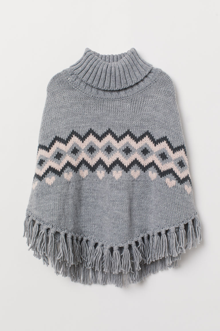 Knitted poncho - Light grey marl/Patterned - Kids | H&M CN
