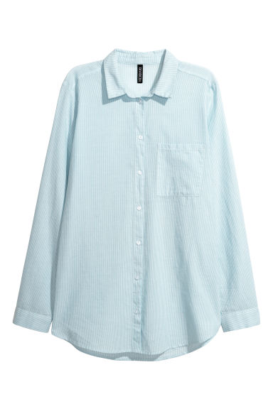 Cotton shirt - Light blue/White striped - Ladies | H&M CN