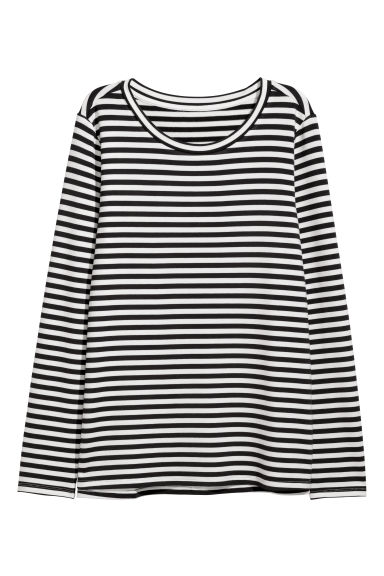 Long-sleeved jersey top - Black/White striped - Ladies | H&M IE
