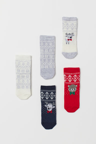 5-pack socks - White/Reindeer - Kids | H&M