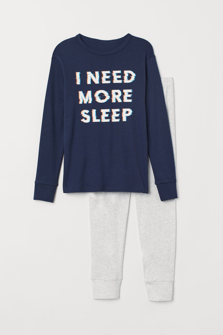 睡衣套装 - 深蓝色/I Need More Sleep - Kids | H&M CN