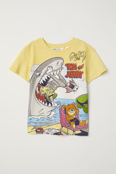 Printed T-shirt - Light yellow/Tom and Jerry -  | H&M CN