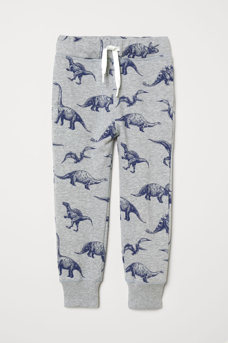 Joggers - Light grey marl/Dinosaurs - Kids | H&M