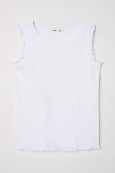Ribbed vest top - White -  | H&M