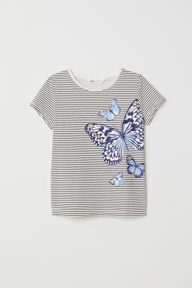 Printed jersey top - White/Butterflies -  | H&M