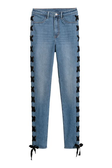 Jeans with lacing - Denim blue -  | H&M GB