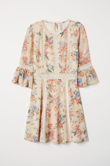 Chiffon dress with lace - Natural white/Floral -  | H&M