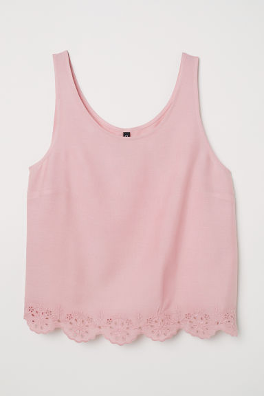 Top with broderie anglaise - Light pink -  | H&M