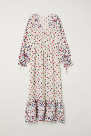 Patterned long dress - Cream/Patterned - Ladies | H&M CN