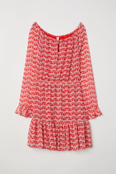 Flounced dress - Red/Floral -  | H&M