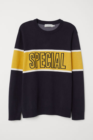 Jacquard-knit jumper - Dark blue -  | H&M