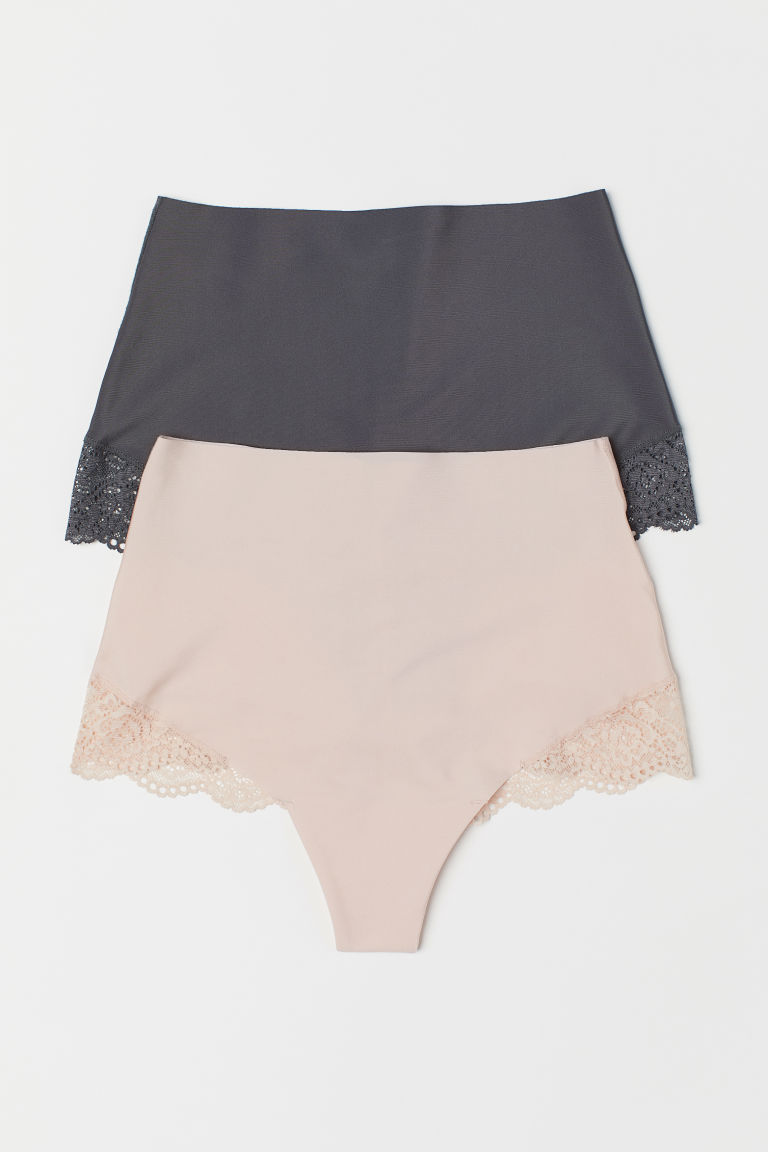 2-pack light shaping briefs - Powder pink/Dark grey - Ladies | H&M