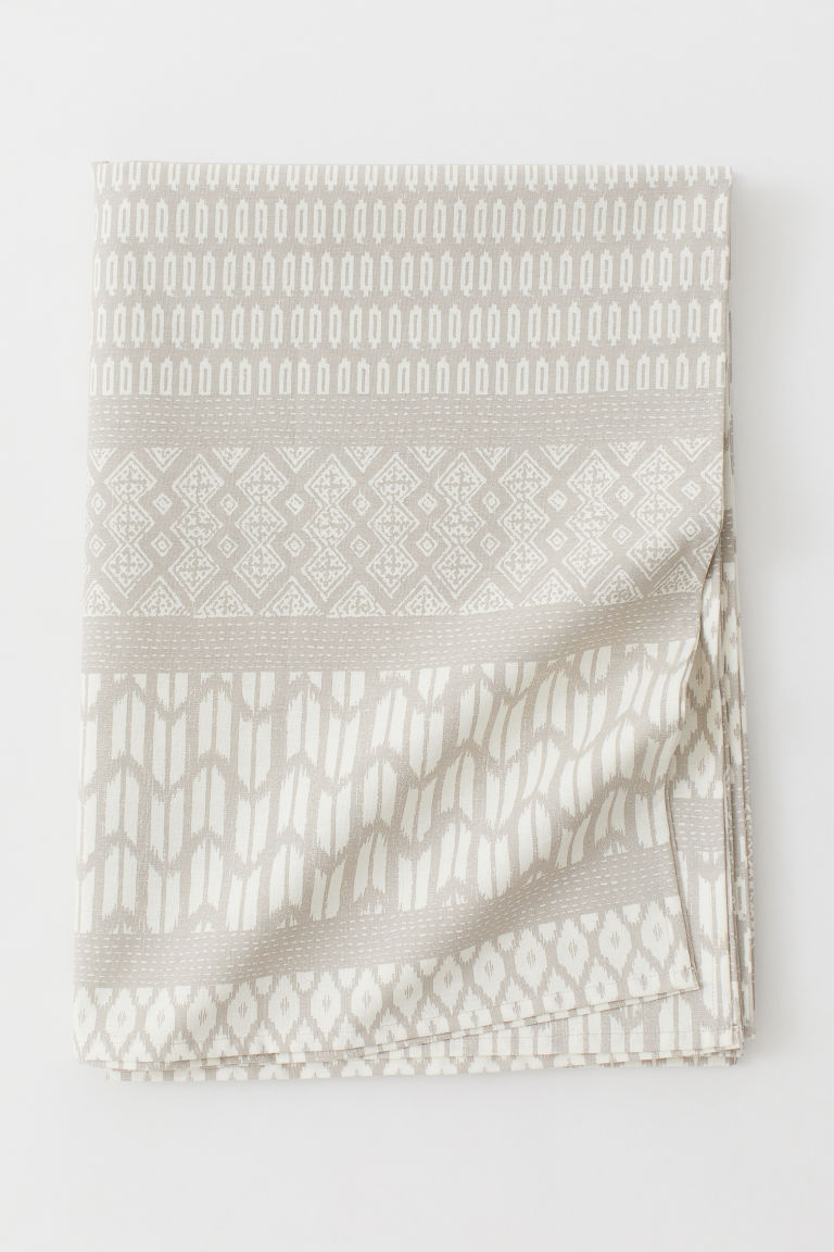 Patterned cotton tablecloth - Light mole/Patterned - Home All | H&M GB