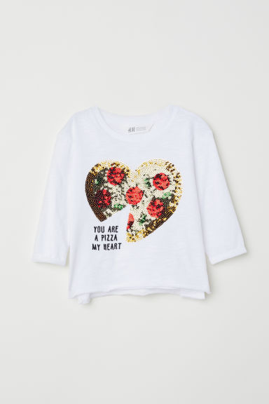 Jersey top with sequins - White/Heart -  | H&M
