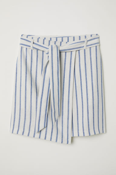 Linen-blend wrap skirt - Natural white/Blue striped - Ladies | H&M CN