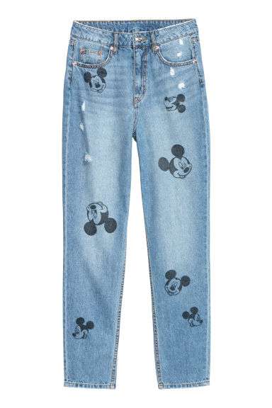 Slim Mom Jeans - 牛仔蓝/米奇老鼠 - Ladies | H&M CN