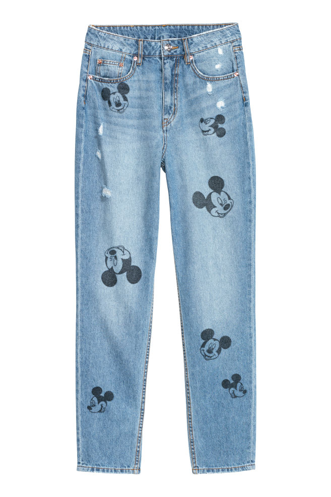 Slim Mom Jeans - Denimblauw/Mickey Mouse - DAMES | H&M NL