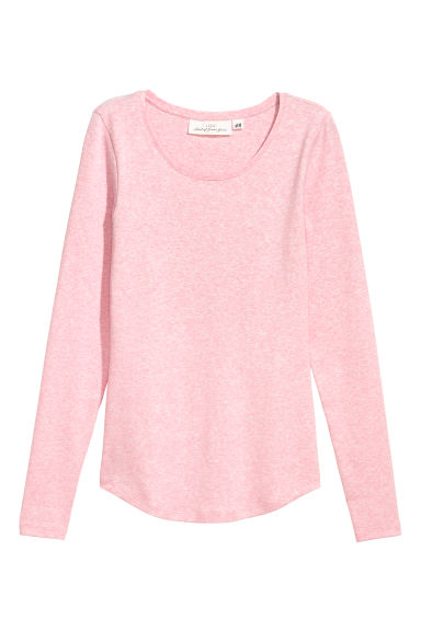 Long-sleeved jersey top - Light pink marl -  | H&M CN