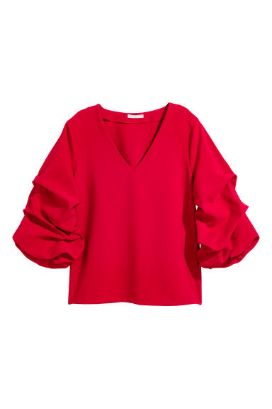 Top with draped sleeves - Red - Ladies | H&M GB