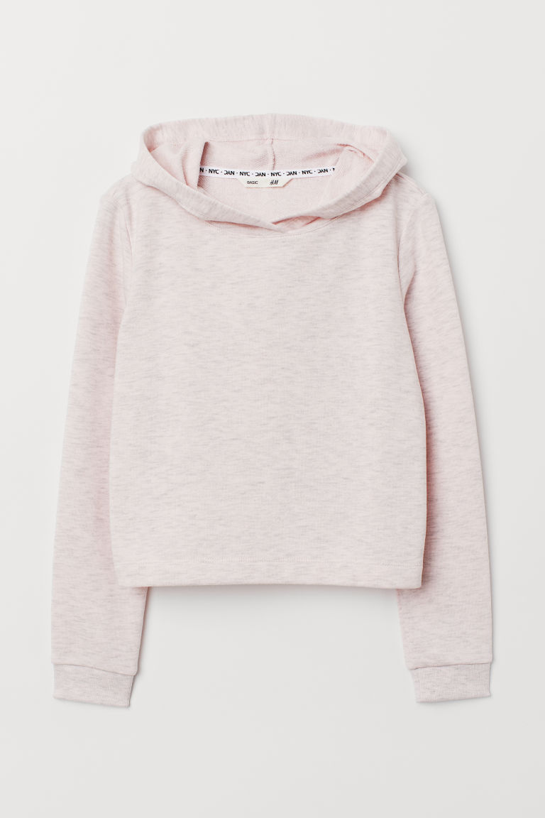 Short hooded top - Light pink marl - Kids | H&M