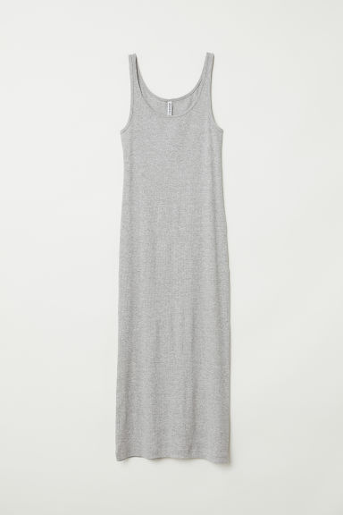 Ribbed dress - Grey marl - Ladies | H&M CN