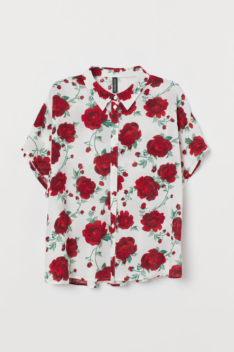 Blouse - White/roses - Ladies | H&M US