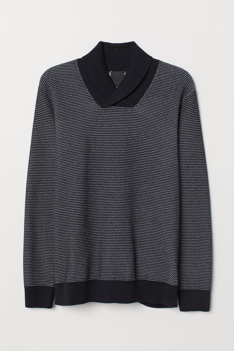 Shawl-collar jumper - Dark blue/Patterned - Men | H&M CN