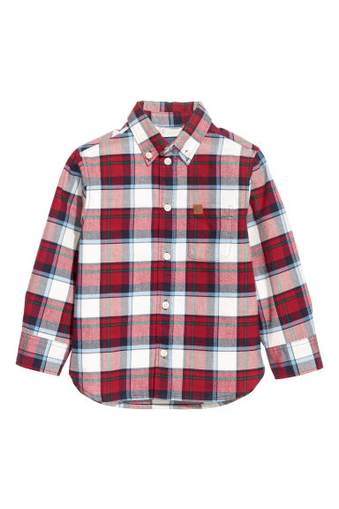 Cotton shirt - Red/White checked -  | H&M CN