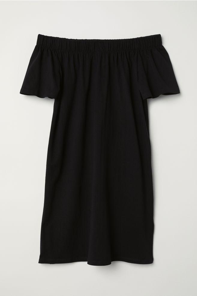 7876a2c00771 Off-the-shoulder Cotton Dress - Black - Ladies