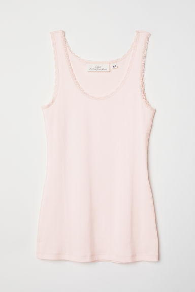 Vest top with lace trims - Light pink - Ladies | H&M CN