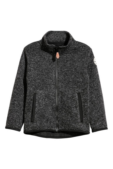 Gebreid fleece vest - Zwart gemêleerd -  | H&M BE