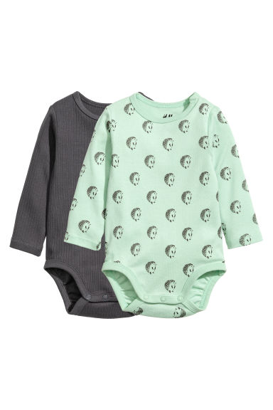 2-pack long-sleeved bodysuits - Dark grey/Light green - Kids | H&M