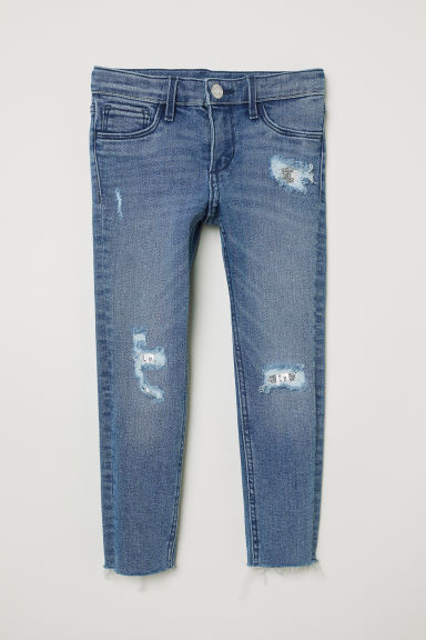 Skinny Fit Worn Jeans - Denim blue/Sequins - Kids | H&M