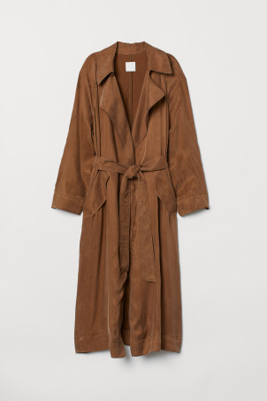 Cupro-blend trenchcoat