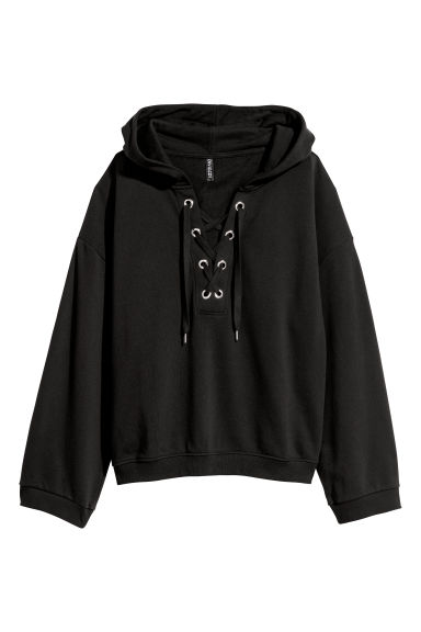 Hooded top with lacing - Black - Ladies | H&M CN