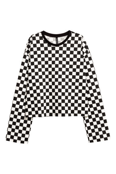 Long-sleeved jersey top - Black/White checked -  | H&M GB