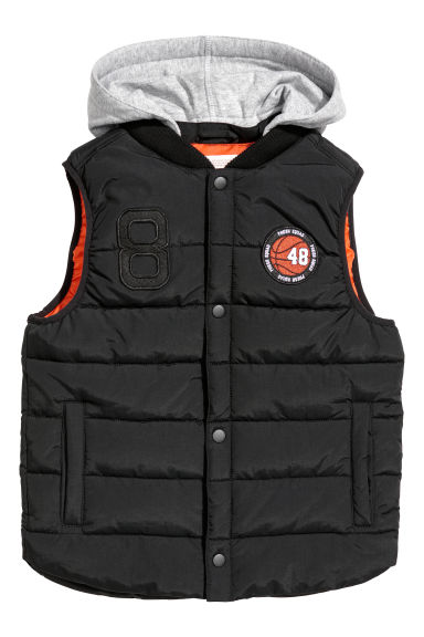 Padded gilet with a hood - Black -  | H&M CN