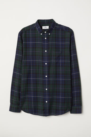 Checked Cotton Shirt - Dark blue/green - Men | H&M US