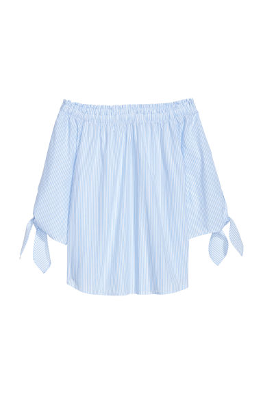 Off-the-shoulder top - Light blue/Striped -  | H&M