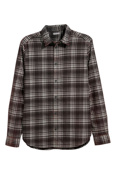 Cotton shirt - Grey/Black checked - Men | H&M GB